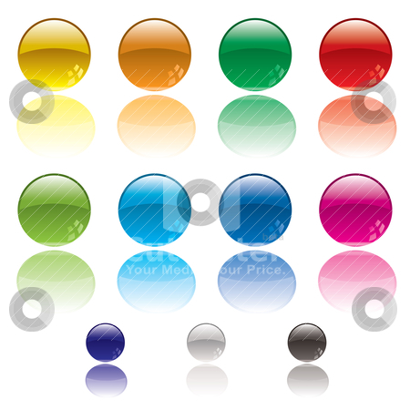 Web circle button stock vector clipart, Collection of colorful circular web icons with reflection in white surface by Michael Travers