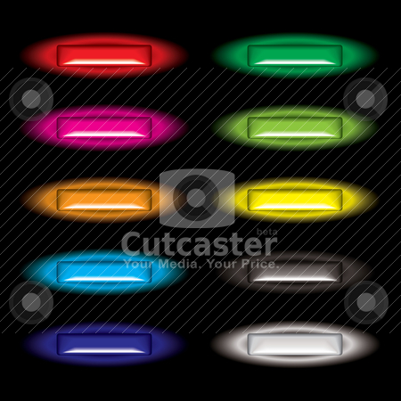 Outer glow button shine stock vector clipart, Collection of gel filled web icon buttons with outer glow by Michael Travers