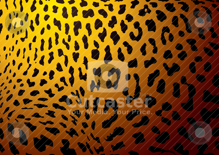 Leopard skin gold stock vector clipart, Leopard skin background with black spotted abstract theme by Michael Travers