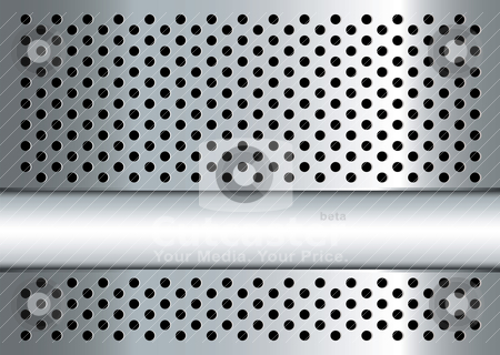 Gratted metal banner stock vector clipart, Silver metal background with perforated holes and copy space by Michael Travers