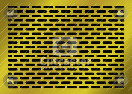 Lozenge gold background stock vector clipart, Golden abstract background with lozenge shaped holes in black by Michael Travers