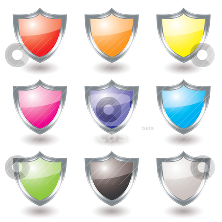 Silver shield variation stock vector clipart, Collection of nine silver shields with color variations and shadow by Michael Travers