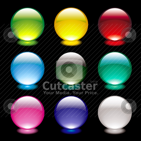 Bubble glow circle black stock vector clipart, Colourful bright gel filled icon buttons on black background by Michael Travers