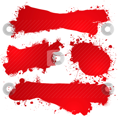 Ink splat blood blank stock vector clipart, Blood red abstract icons with room to add your own text by Michael Travers