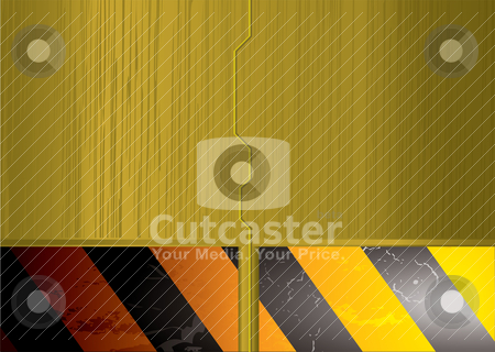 Metal space door gold stock vector clipart, Abstract golden space ship sliding door with warning banner background by Michael Travers