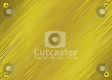 Metal screw plate stock vector clipart, Golden brushed metal background with screw heads in each corner by Michael Travers