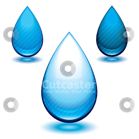Aqua droplet stock vector clipart, Water droplet with colour variation and glowing shadow by Michael Travers