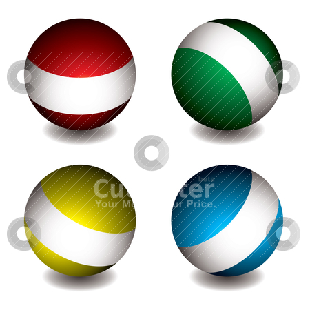 White band orb stock vector clipart, Collection of four colourful round orbs with shadow and white band by Michael Travers