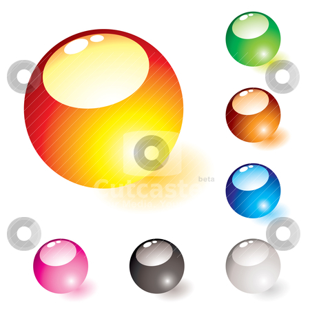 Marble shine glow stock vector clipart, Collection of seven glass marbles with light reflection and shadow by Michael Travers