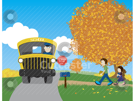 Back To School stock vector clipart, Illustration of a brother and sister walking to the school bus. by John Morris
