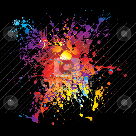 Gothic grunge rainbow splat, rainbow paint splatter stock vector clipart, Bright colorful grunge ink splat with black background by Michael Travers