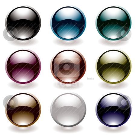 Reflective black button stock vector clipart, Collection of nine round icons with light reflection and black theme by Michael Travers