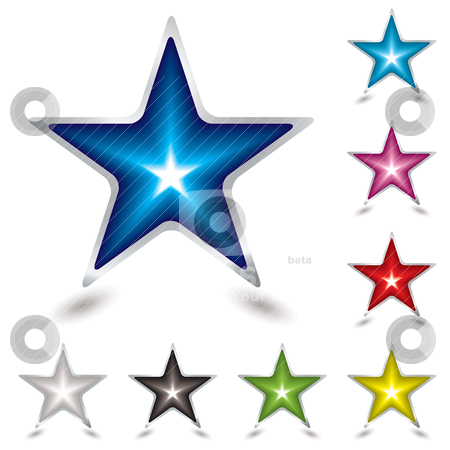 Star gel shadow stock vector clipart, Eight star gel icons with shadow with silver bevel by Michael Travers