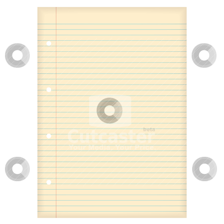 Aged lined paper stock vector clipart, Piece of lined a4 paper with aged effect and hole punch by Michael Travers