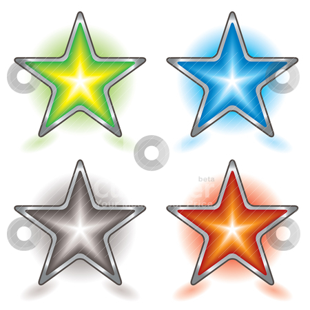 Star foursome stock vector clipart, Collection of four colorful stars with silver metal bevel and shadow by Michael Travers