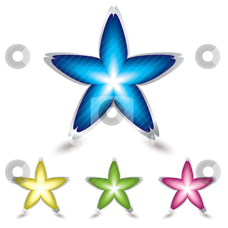 Star flower icon stock vector clipart, Four star shapped flower petal icons with metal bevel and shadow by Michael Travers