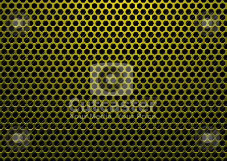Hexagon metal gold stock vector clipart, Abstract background with hexagon shaped holes and black backdrop by Michael Travers