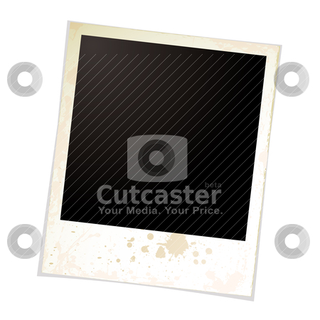 Photo grunge one stock vector clipart, Illustrated blank photo with grunge effect and shadow by Michael Travers