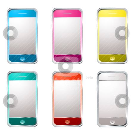 Techno phone variation stock vector clipart, Collection of six modern gadget phones with colour variation by Michael Travers