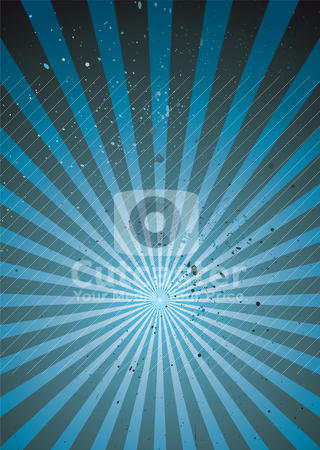 Radiate blue grunge light stock vector clipart, Grunge abstract background with ink splats and radiating design by Michael Travers