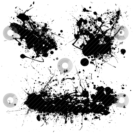 Splat black trio stock vector clipart, Stark black ink splat with illustrated grunge effect by Michael Travers