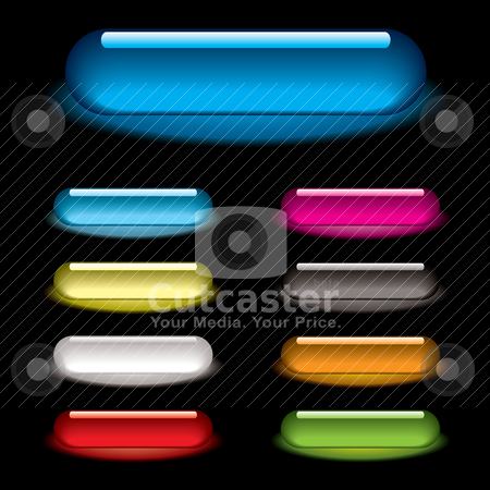 Lozenge glow black stock vector clipart, Collection of nine lozenge icons with gel effect and drop shadow by Michael Travers