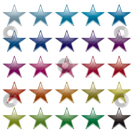 Star rainbow variation stock vector clipart, Collection of many brightly colored star shapes with light reflection by Michael Travers