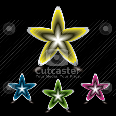 Star flower icon black stock vector clipart, Collection of abstract star shaped flower icons with shadow by Michael Travers