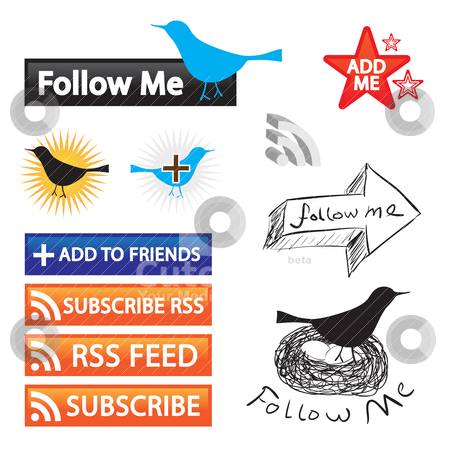 Social Networking Icons stock vector clipart, A collection of feed buttons for social networking and blogging.  Easily customize these vector icons for your own website. by Todd Arena