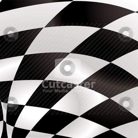 Checkered square stock vector clipart, Black and white waved formula flag with ripple effect by Michael Travers