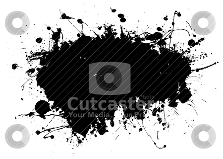 Oblong grunge splat stock vector clipart, Black ink splat design with room to add your own text by Michael Travers