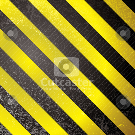 Warning grunge stripe stock vector clipart, Square abstract warning design with yellow and black design by Michael Travers