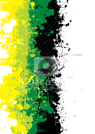 Grunge ink subtle stock vector clipart, Grunge ink splat background in green and yellow by Michael Travers
