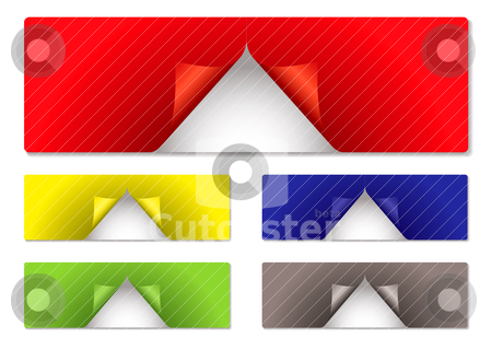 Label center peel stock vector clipart, Collection of five sticky labels with the center peeled by Michael Travers