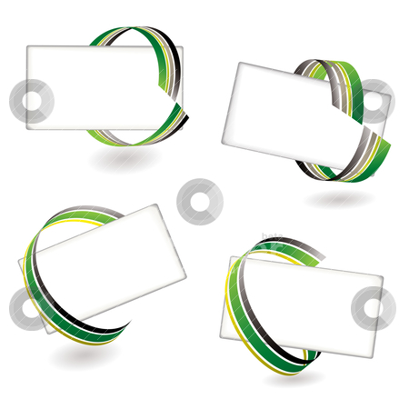 Ribbon card green stock vector clipart, Collection of four place cards with ribbon effect and shadow by Michael Travers