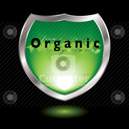 Organic shield stock vector clipart, Silver bevel shield with organic icon and drop shadow by Michael Travers