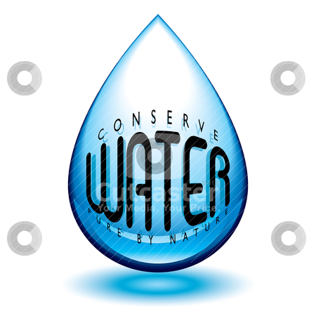 Conserve water stock vector clipart, Water droplet icon in blue with conserve message and shadow by Michael Travers