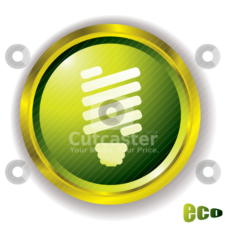 Eco bulb icon stock vector clipart, Eco green style icon with light blb and outer gold metal bevel by Michael Travers