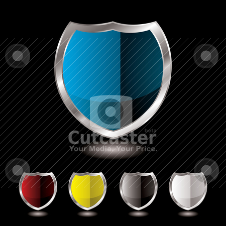 Shield five variation stock vector clipart, Collection of five shields with black background and reflection by Michael Travers