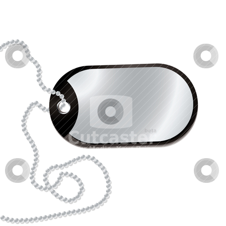 Leather tag stock vector clipart, Leather dog tag with metal plate and ball chain by Michael Travers