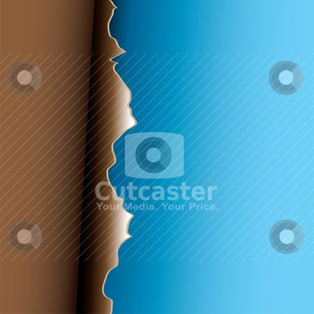 Brown peel stock vector clipart, Abstract torn page with paper peel and blue background by Michael Travers