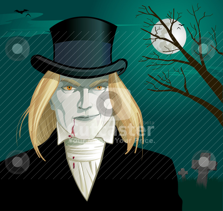 Gothic Vampire with Top Hat stock vector clipart, Grinning, Victorian vampire with blood running down his chin and onto his shirt by Michael Jaszewski