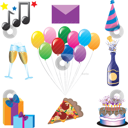 Party Icons stock vector clipart, Vector can be used for any type of party or celebration. by Basheera Hassanali