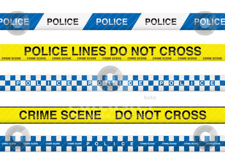 Police tape stock vector clipart, Collection of five police tape with crime scene information by Michael Travers