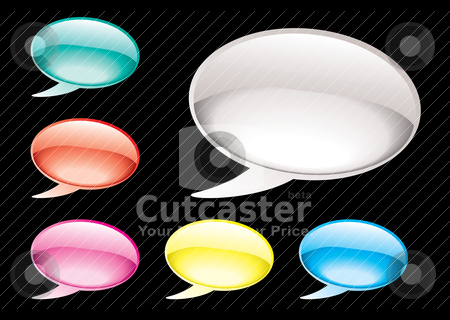 Speech bubble stock vector clipart, Collection of six speech bubbles with gel effect and gradient by Michael Travers