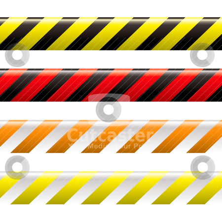 Warning tape stock vector clipart, Collection of four warning tapes in different colours with stripes by Michael Travers