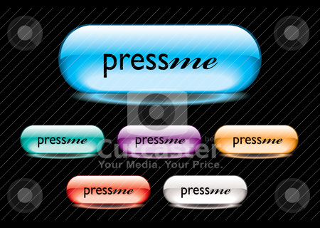 Press me button stock vector clipart, Collection of six gel filled buttons with press me text by Michael Travers