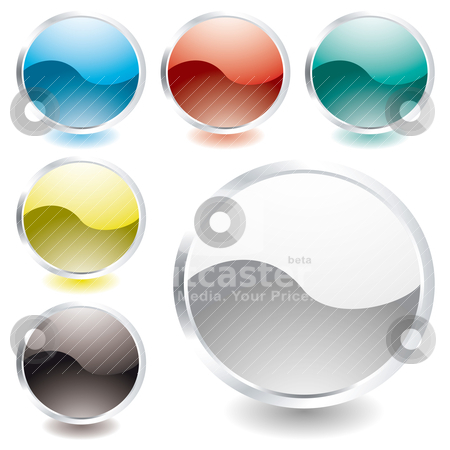 Oval shine icon stock vector clipart, Collection of six oval icons with light reflection and silver bevel by Michael Travers