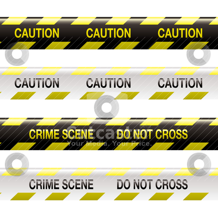 Crime scene tape stock vector clipart, Yellow and black police tape with warning stripe and text by Michael Travers