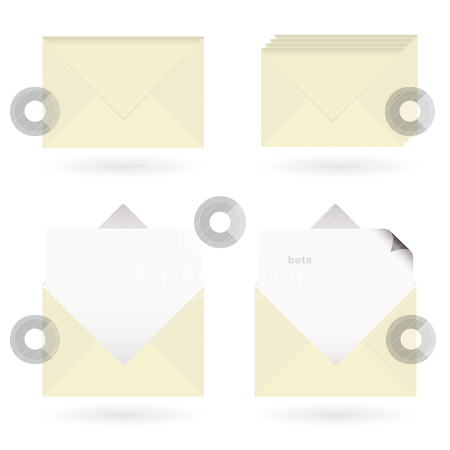 Business envelopes open stock vector clipart, Set of four business icons with envelopes and drop shadow by Michael Travers